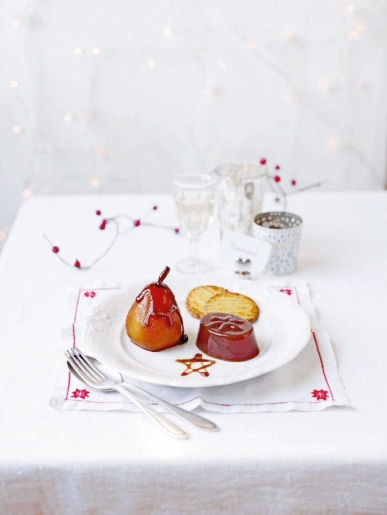 Poached pears with Earl Grey ganache and spiced jellies