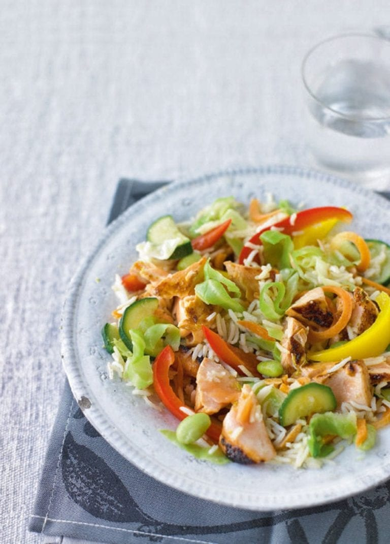 Teriyaki salmon stir-fry with wasabi-fried rice