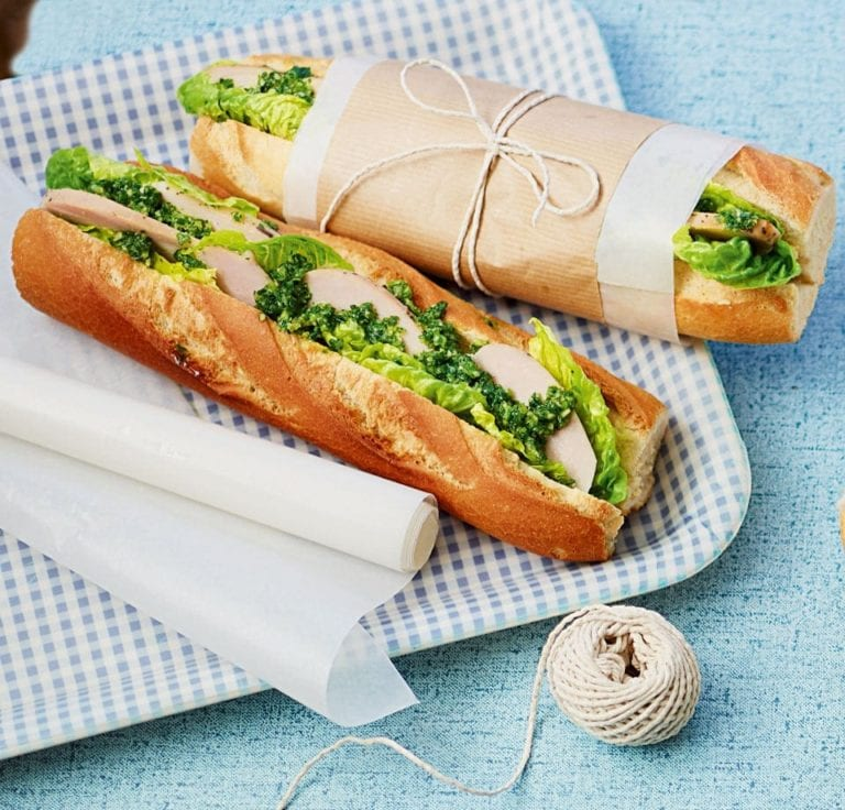 Smoked chicken, parsley pesto and crisp gem lettuce baguette