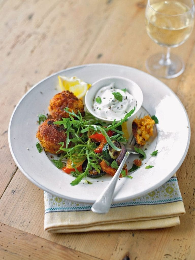 Sweet potato falafels with Med veg salad