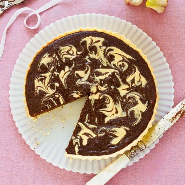Chocolate and peanut butter swirl tart