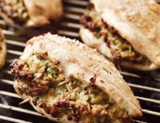 Chicken breasts stuffed with wild mushroom and herb butter