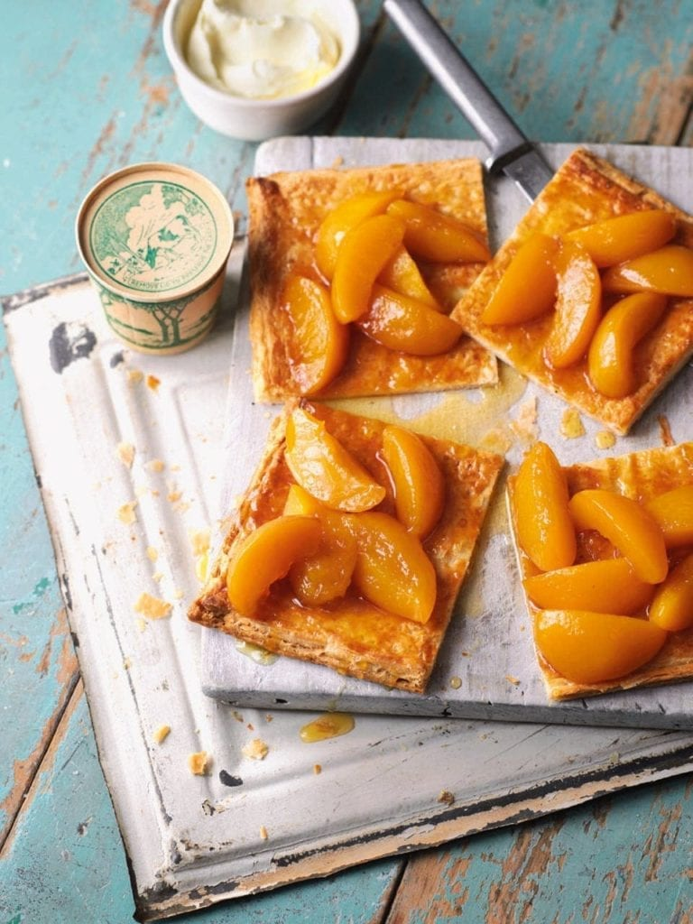 Roast peach and honey puff tart