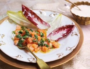 Salmon tartare with chicory