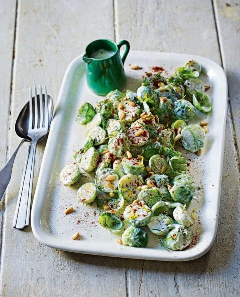 Middle Eastern-style brussels sprout salad