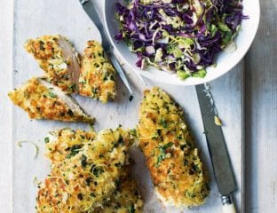 Breaded chicken with stir-fried cabbage and sprouts