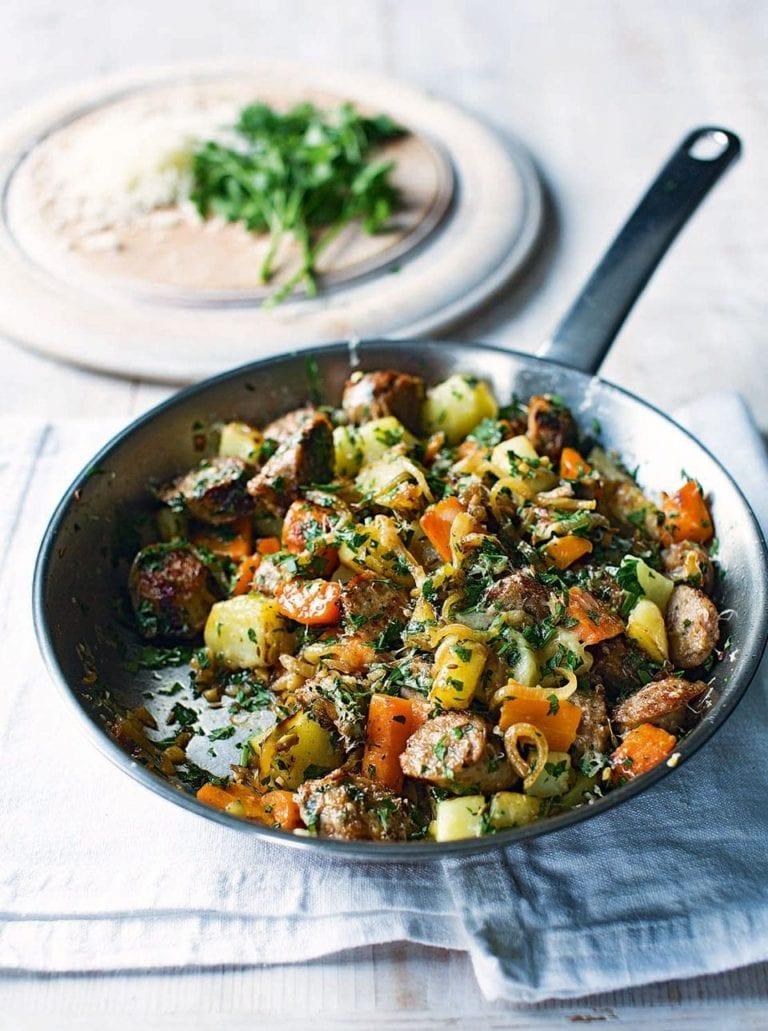 Sausage, carrot and cumin hash