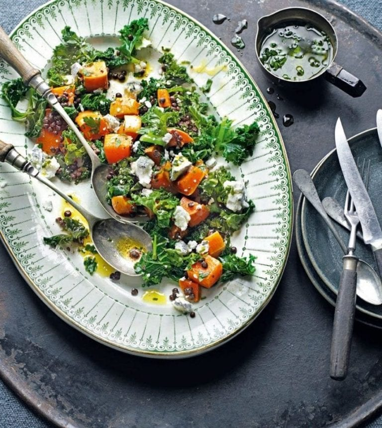 Warm salad of roast squash, kale and goat's cheese with lentils