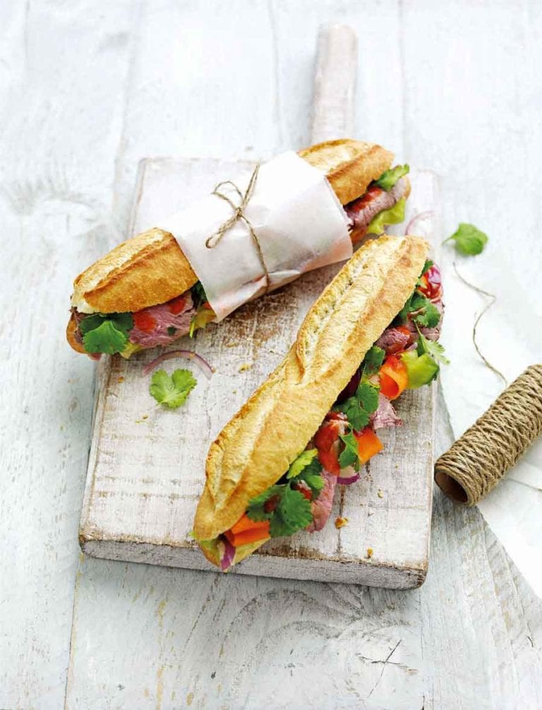 Beef banh mi with pickled veg