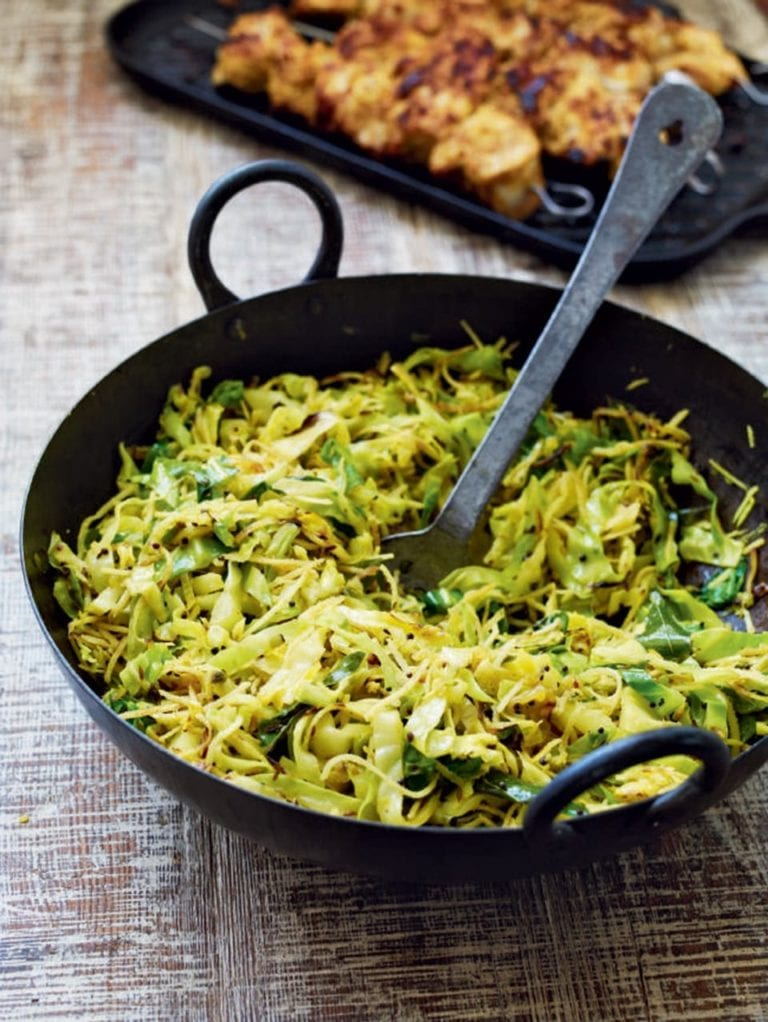 Keralan stir-fried cabbage with spiced chicken kebabs