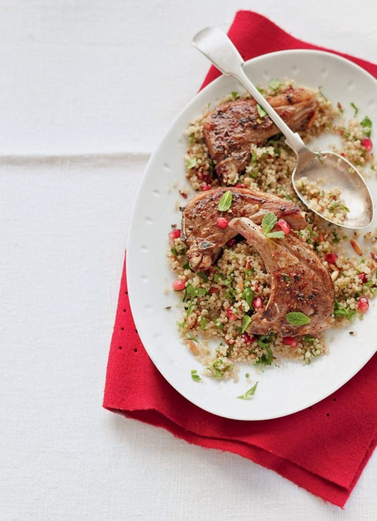 Spiced lamb chops and herby quinoa
