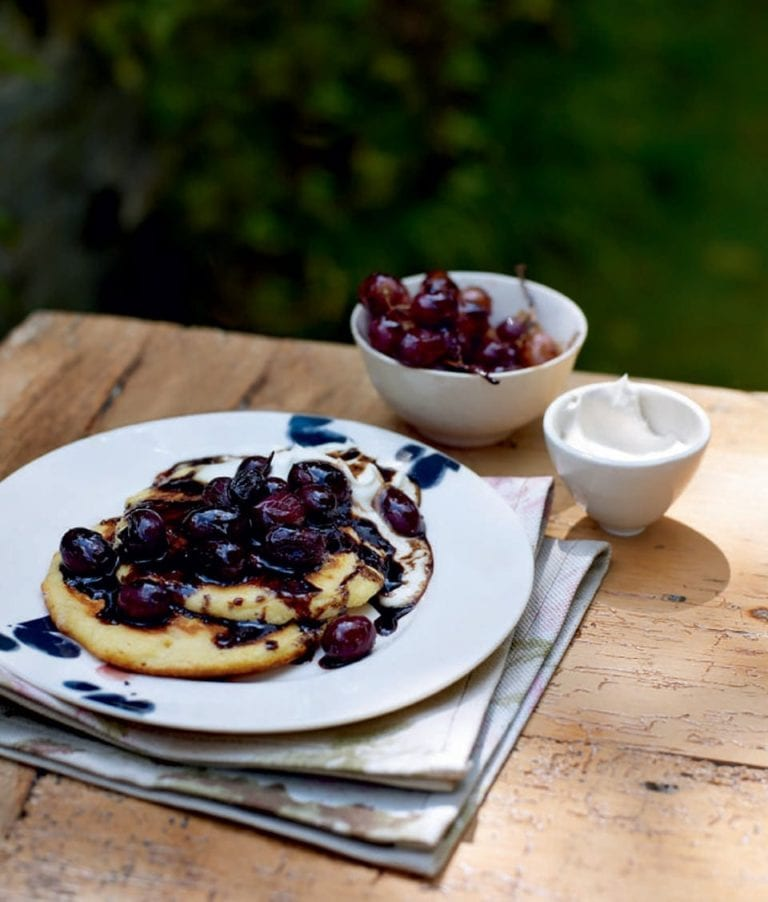 Ricotta pancakes with roast grapes and pomegranate molasses