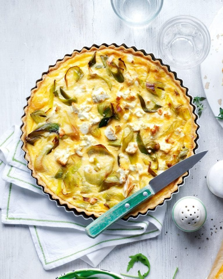 Leek and feta tart