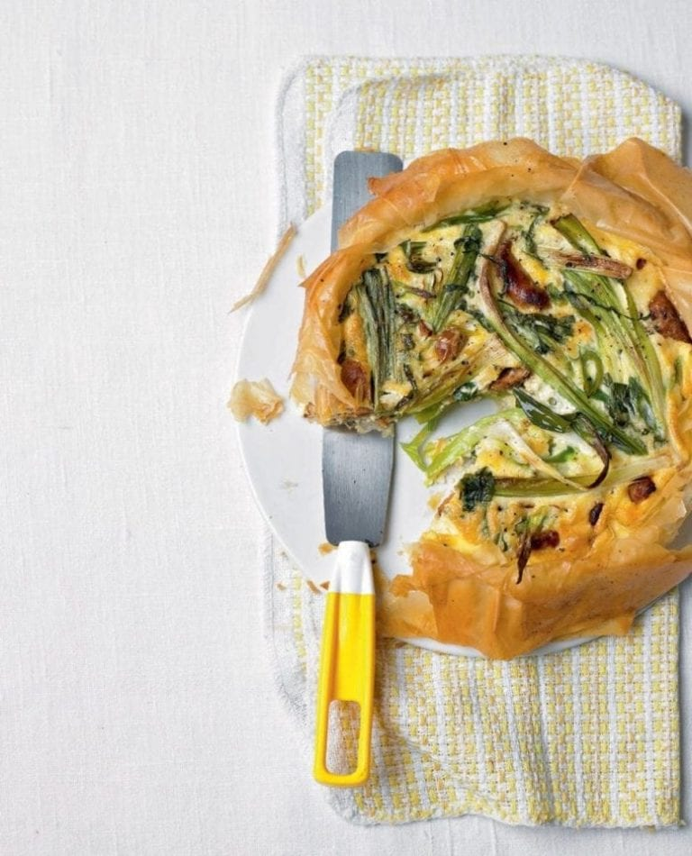 Leek, spring onion and chorizo tart