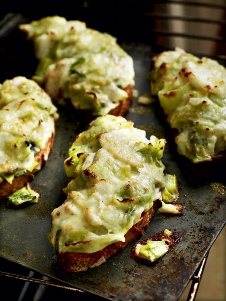 Creamed leeks and smoked haddock on toast