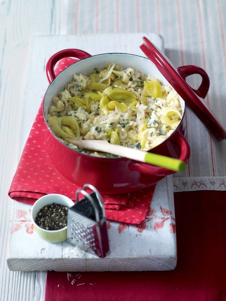 Risotto with blue cheese and leeks
