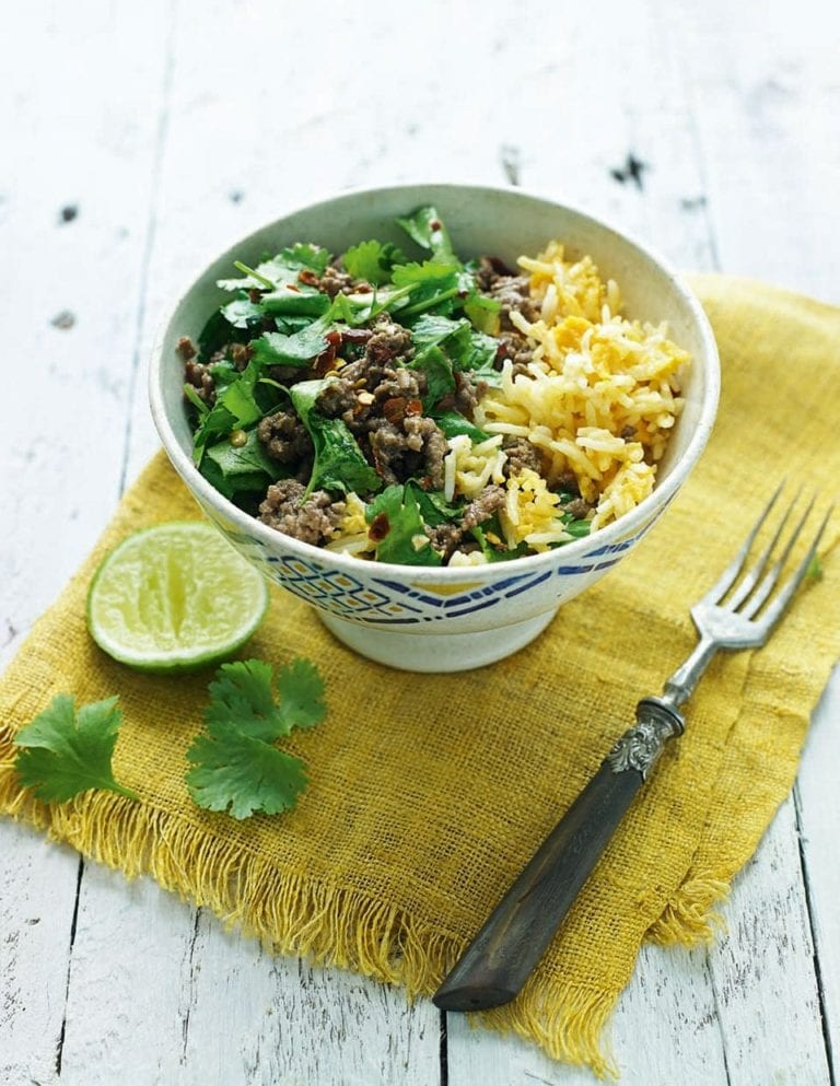 Thai beef larb with egg-fried rice