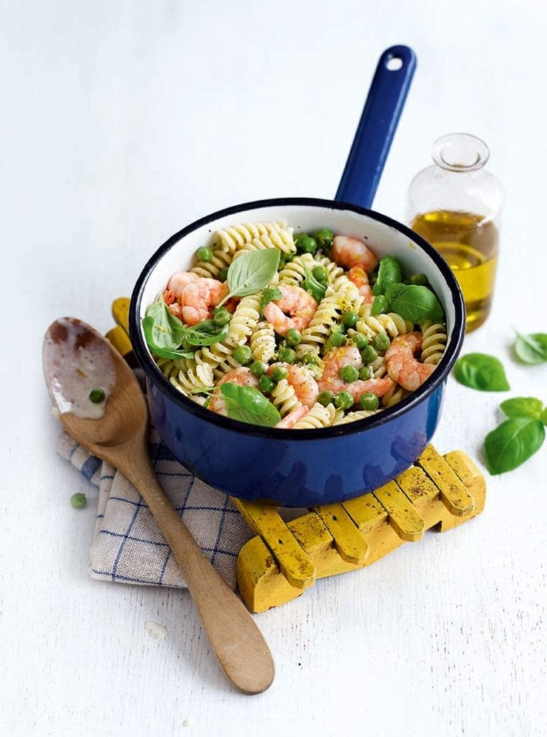 Prawn and pea pasta with lemon crème fraîche