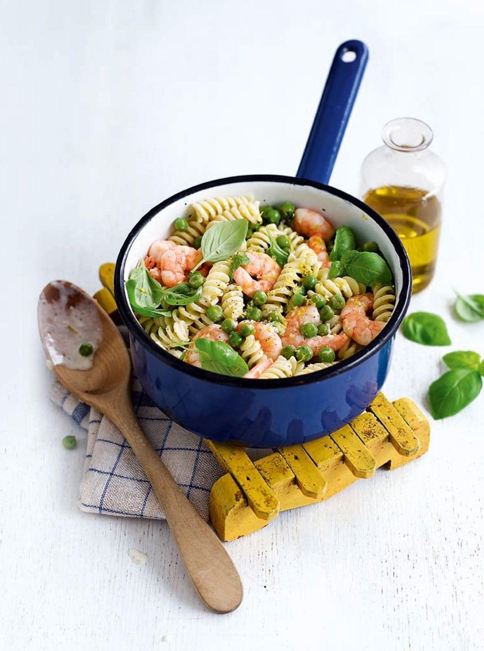 "Prawn and pea pasta with lemon crème fra""ïche | delicious. magazine"