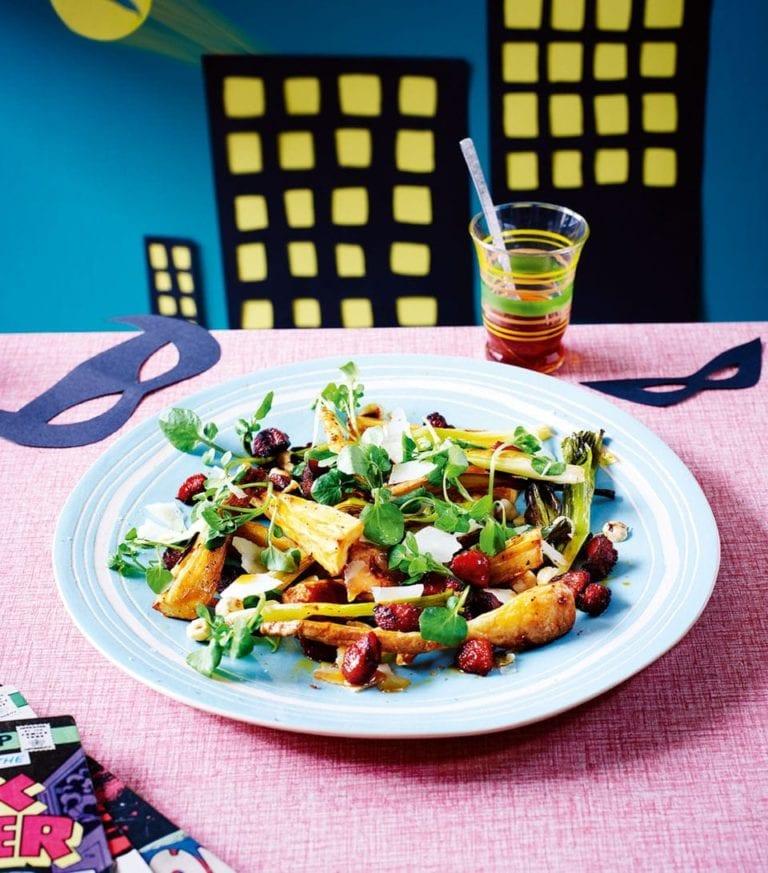Warm maple parsnip salad