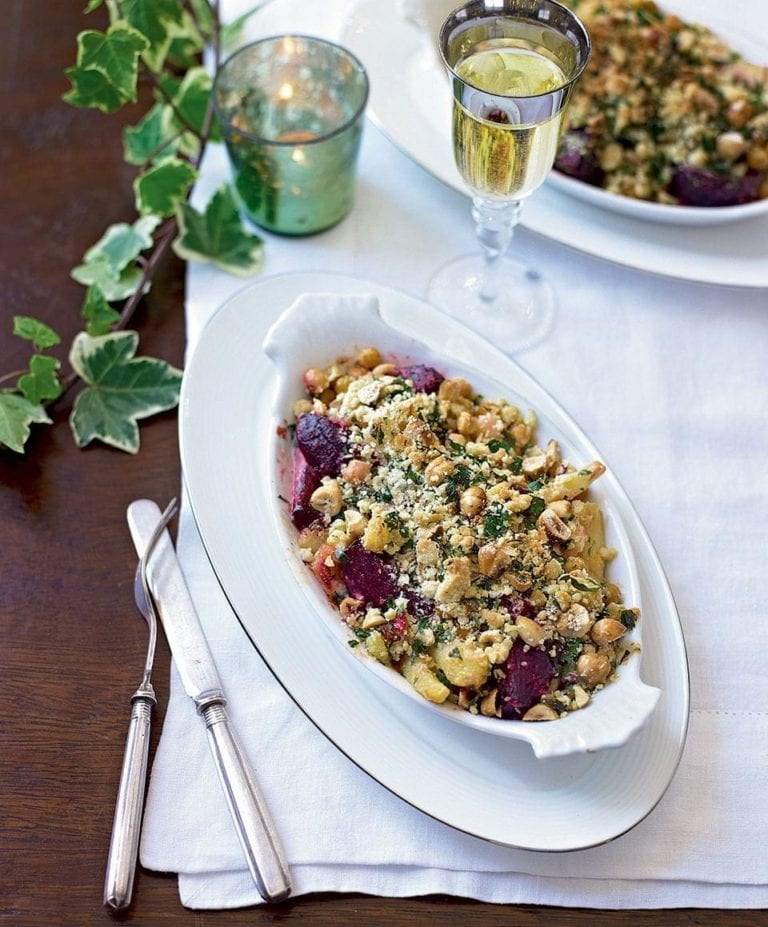 Creamy root vegetable and chickpea crumble