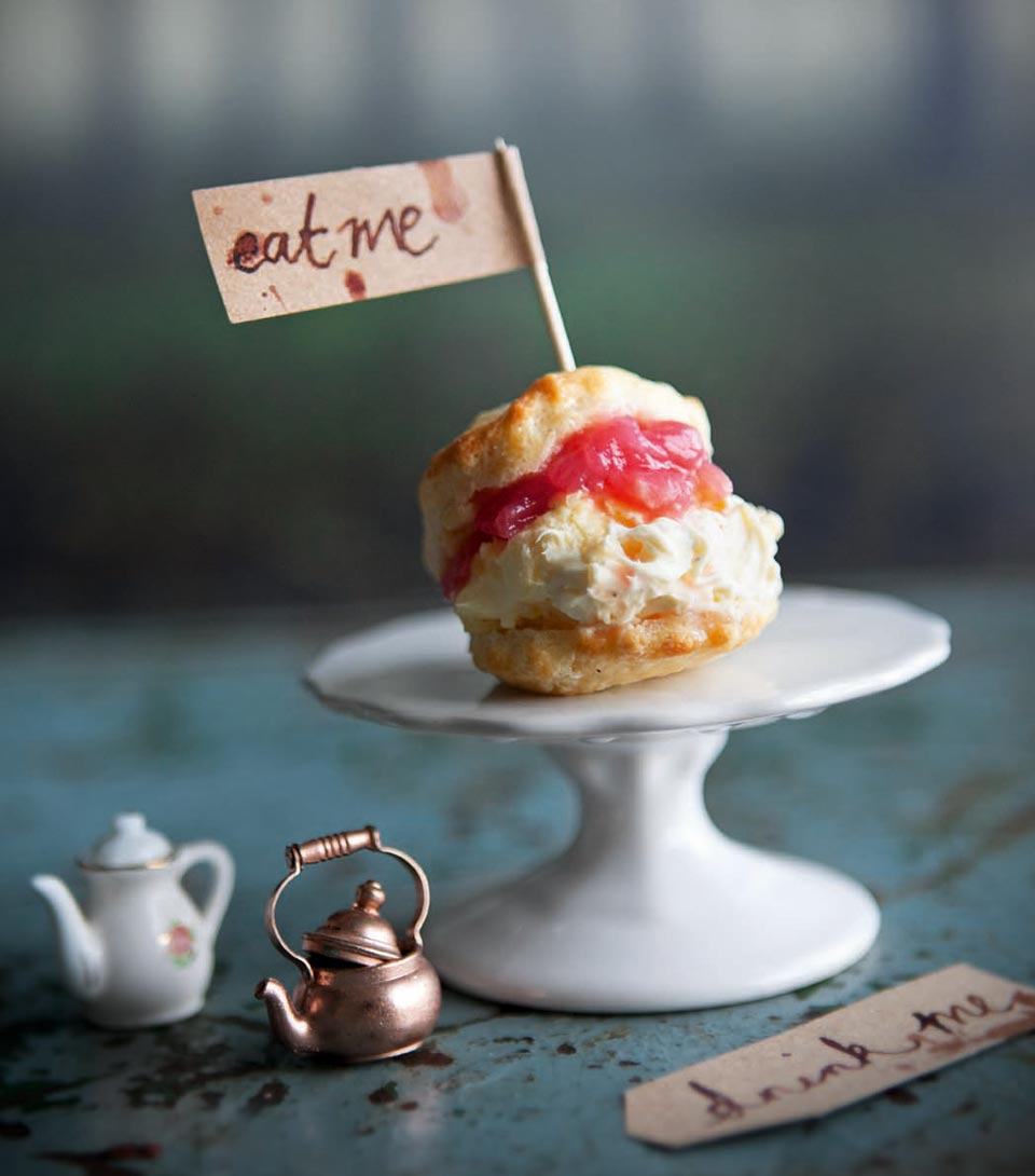 Little buttermilk scones with cardamom cream and rhubarb compote | delicious. magazine