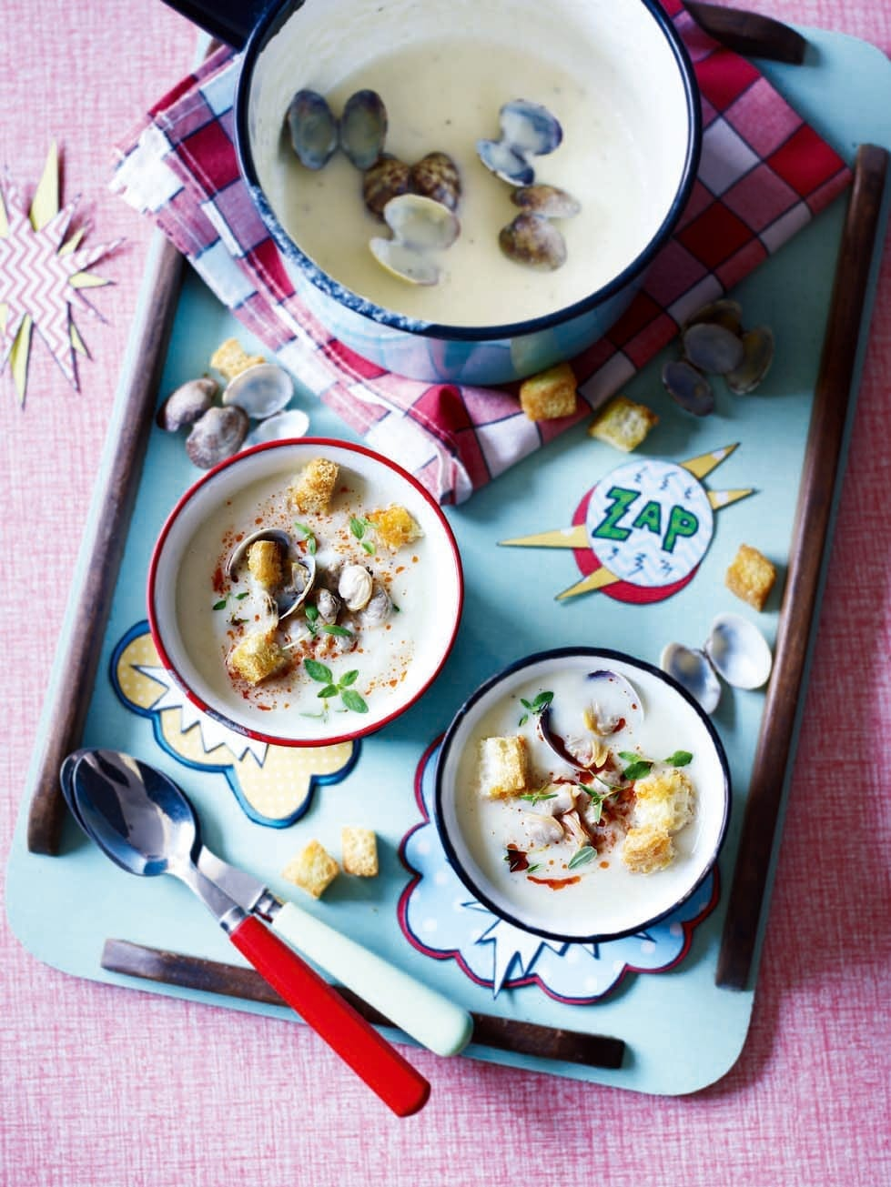 Jerusalem Artichoke Soup With Clams Garlic Croutons And Harissa Recipe Delicious Magazine