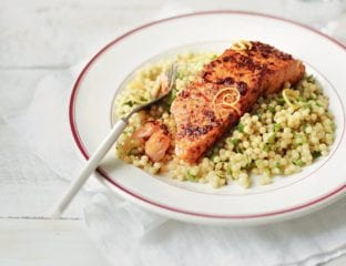 Quick harissa salmon with giant couscous