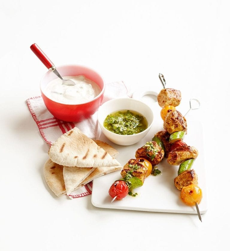 Quick chicken kebabs with gremolata
