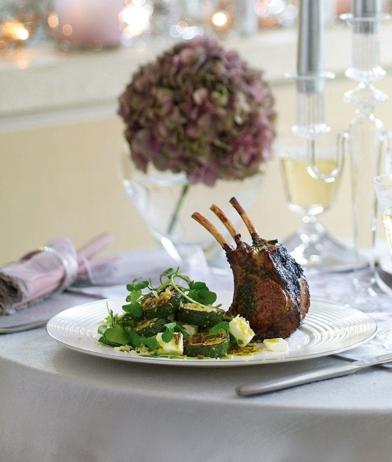 Marinated rack of lamb with herbs and lemon