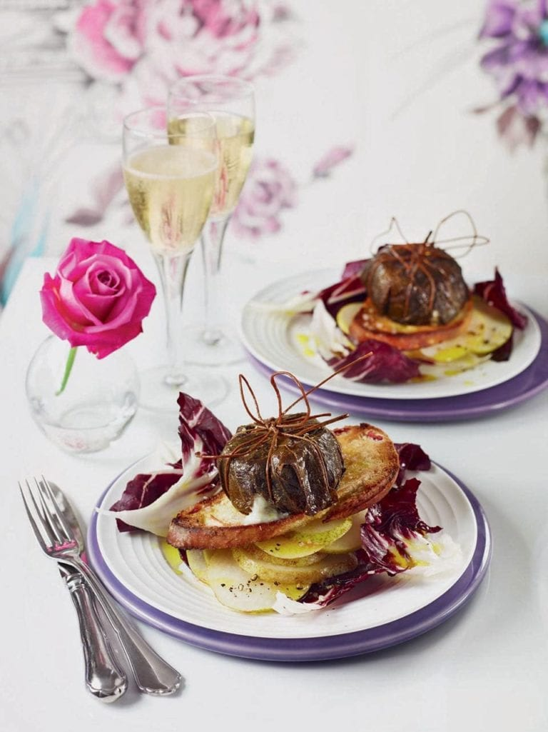 Goat's cheese baked in vine leaves with winter salad recipe
