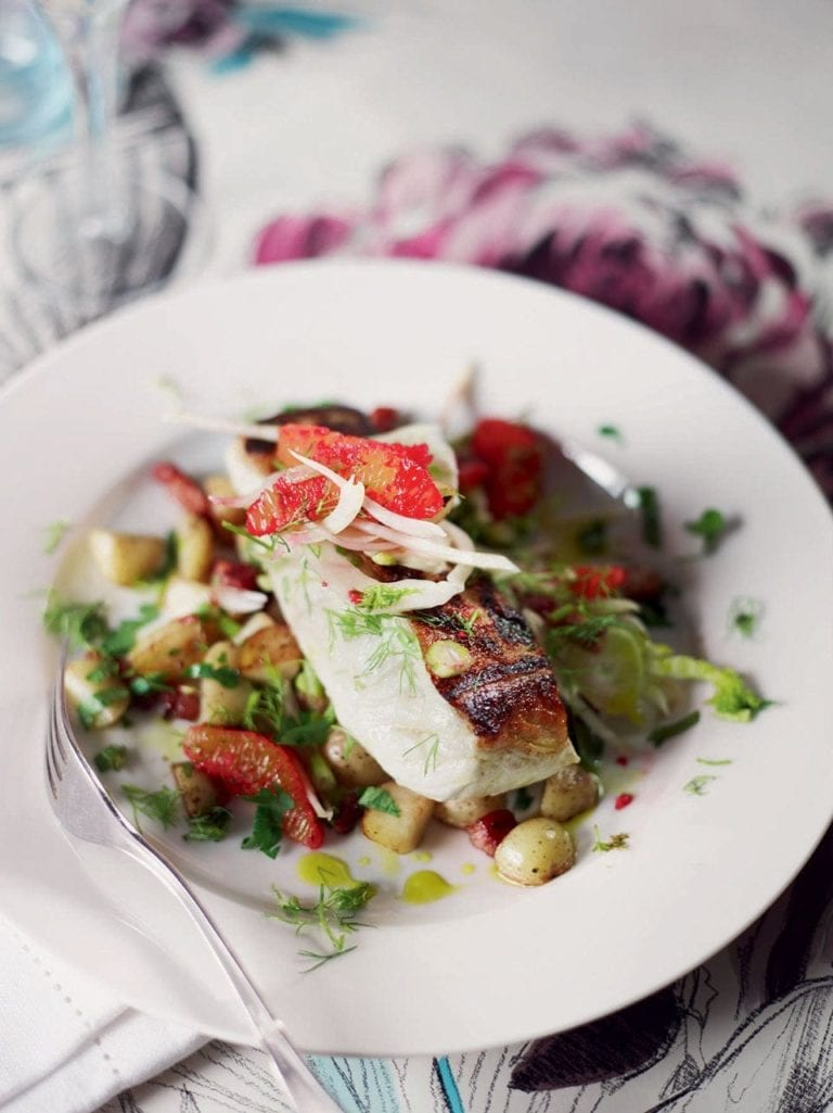 Halibut with pancetta, potatoes and blood orange salad