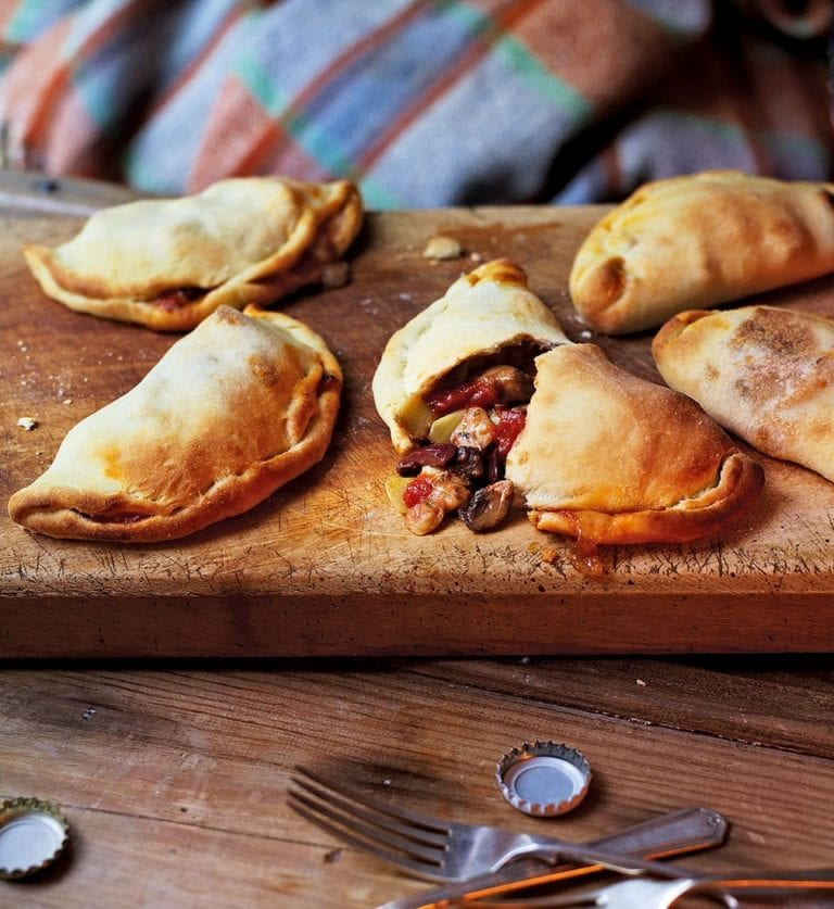 Mini mushroom, artichoke and olive calzones