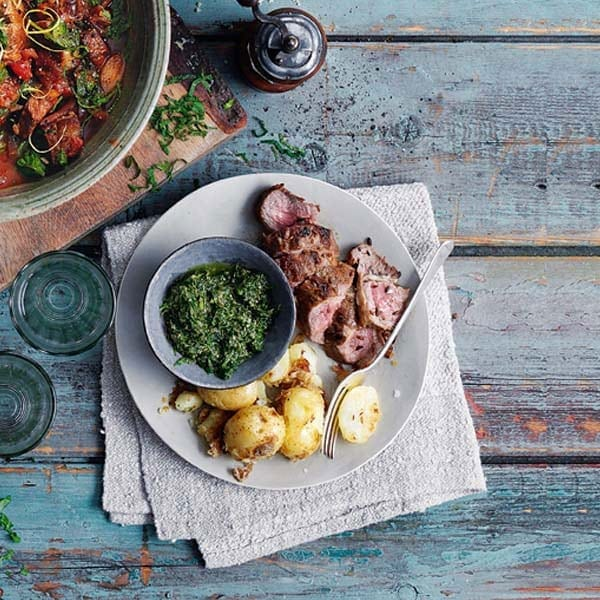 Pan-fried lamb with crushed potatoes and salsa verde