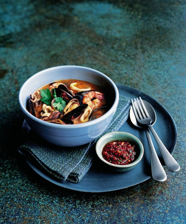 Mussel, squid and prawn stew with harissa