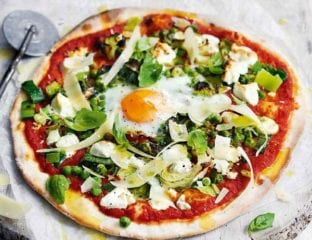 Goat's cheese, green veg and egg pizza