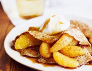 "Pancakes with caramel oranges and crème fra""ïche"
