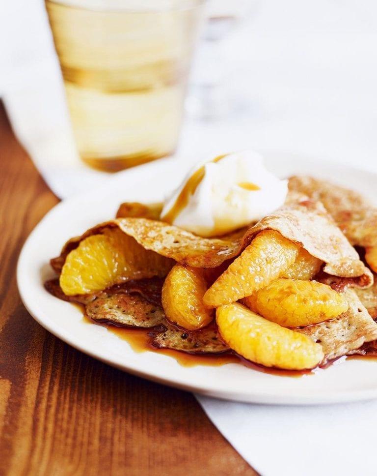 Pancakes with caramel oranges and crème fraîche