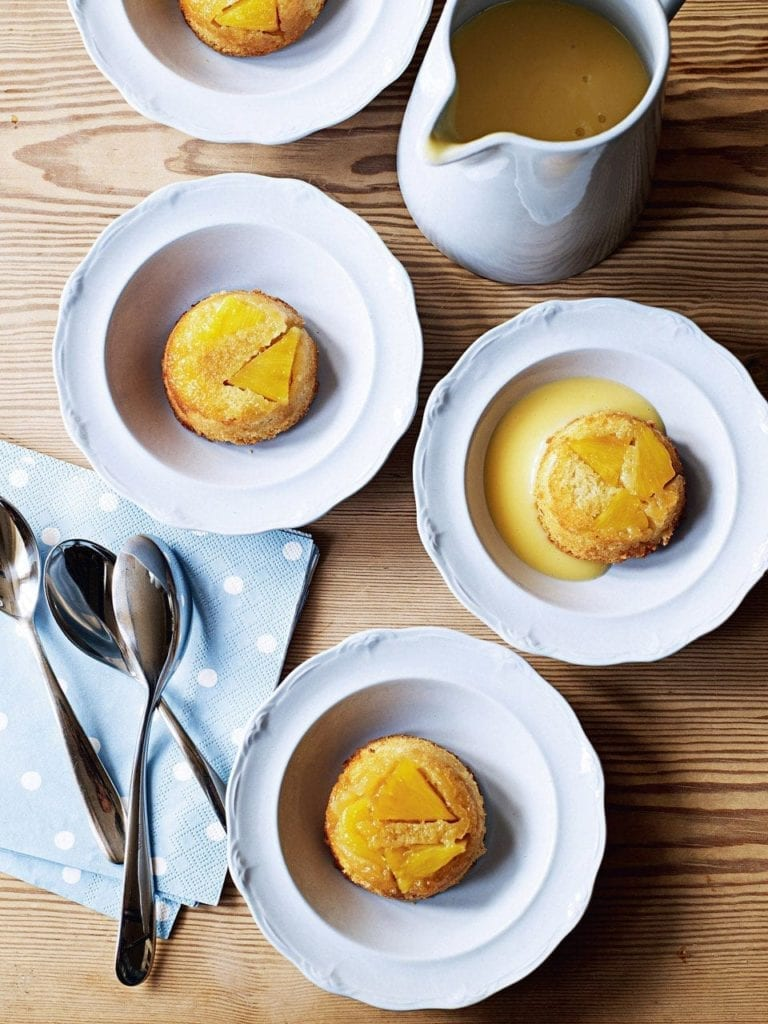 Pineapple puddings with custard