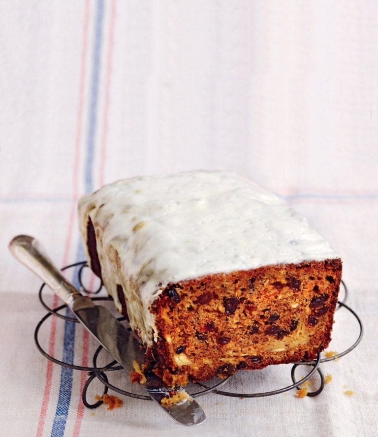 Parsnip and fruit loaf with lemon drizzle
