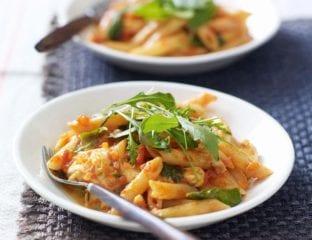 Tomato, basil and mozzarella penne