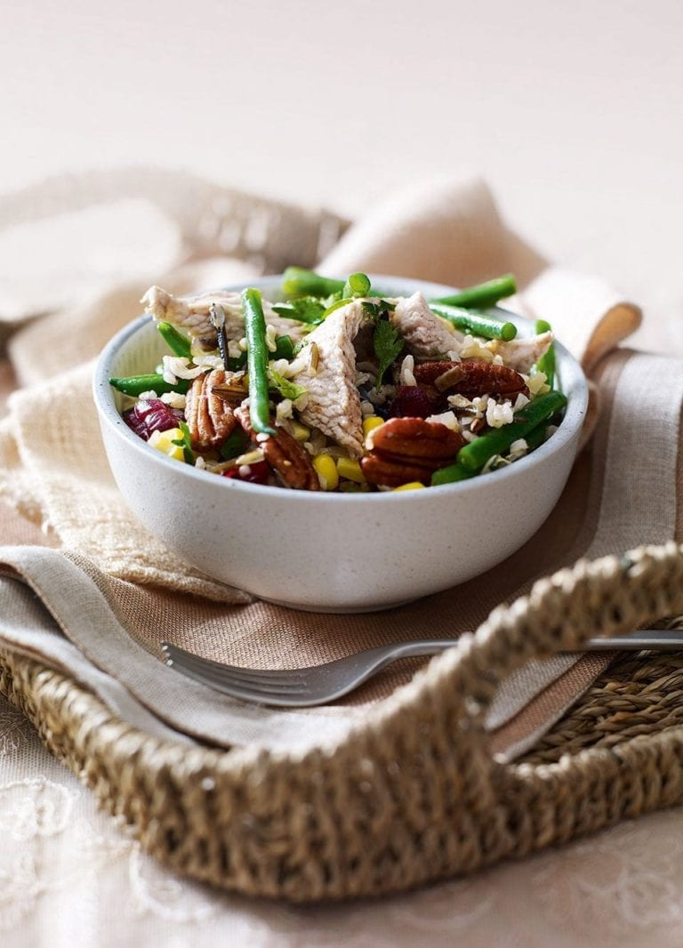 Turkey and wild rice pilaf with pecans and cranberries