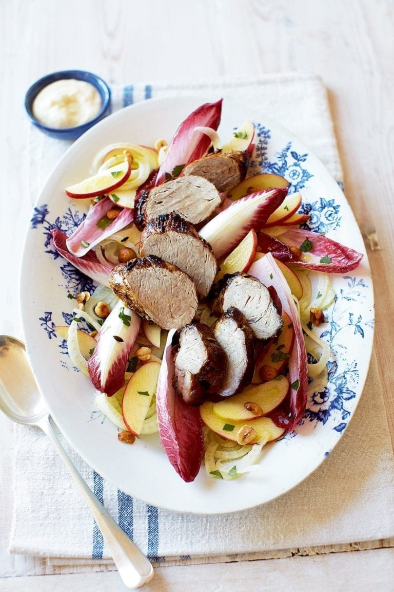 Pork fillet with fennel and apple salad and creamed feta