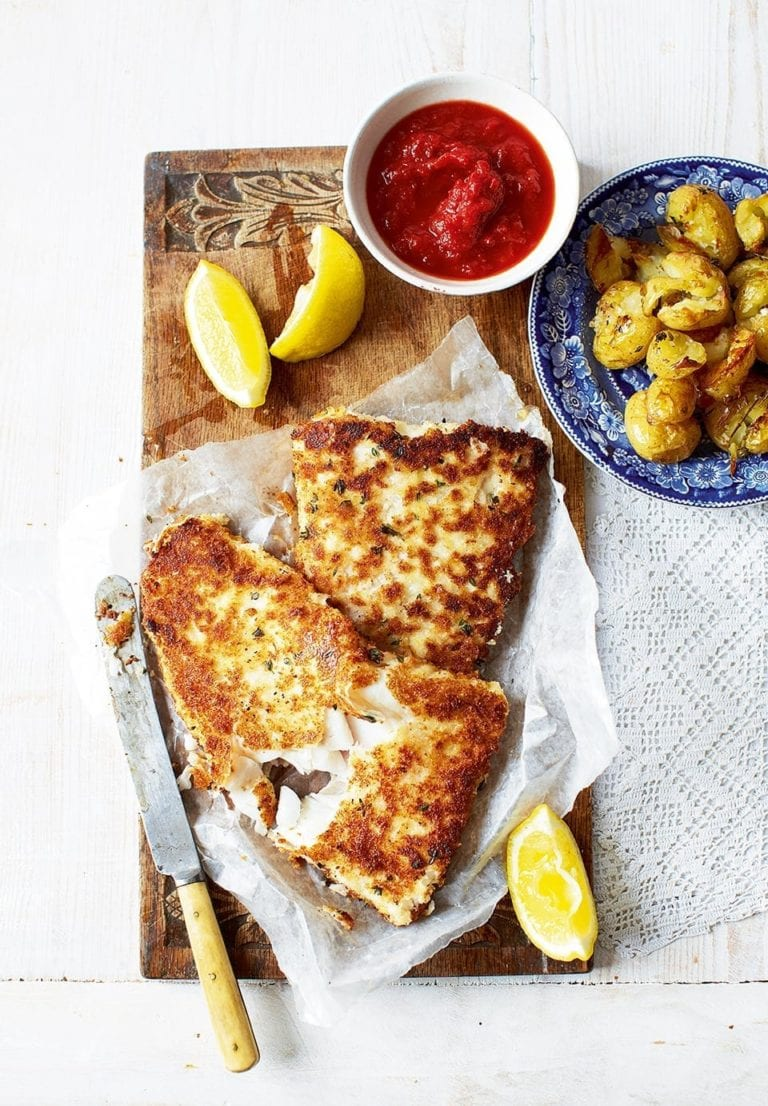 Crumbed fish with thyme potatoes and tomato relish