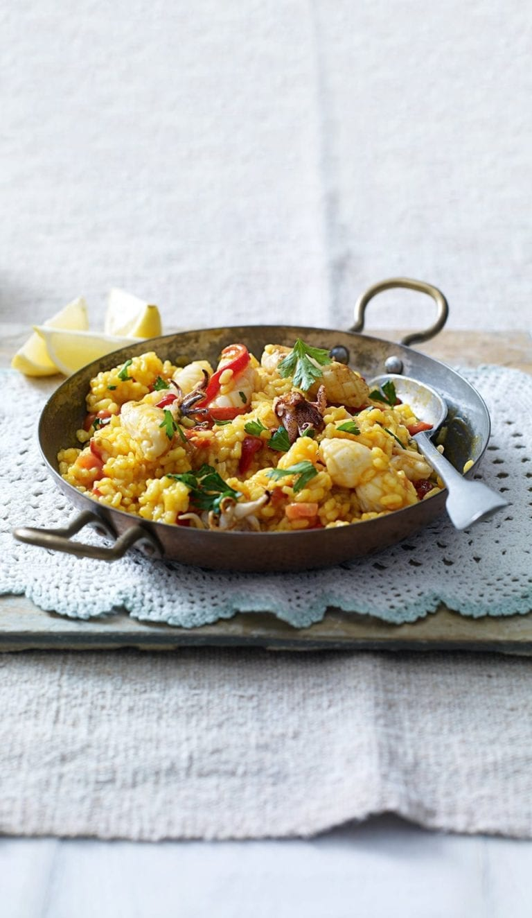 Paella with squid and roasted red peppers