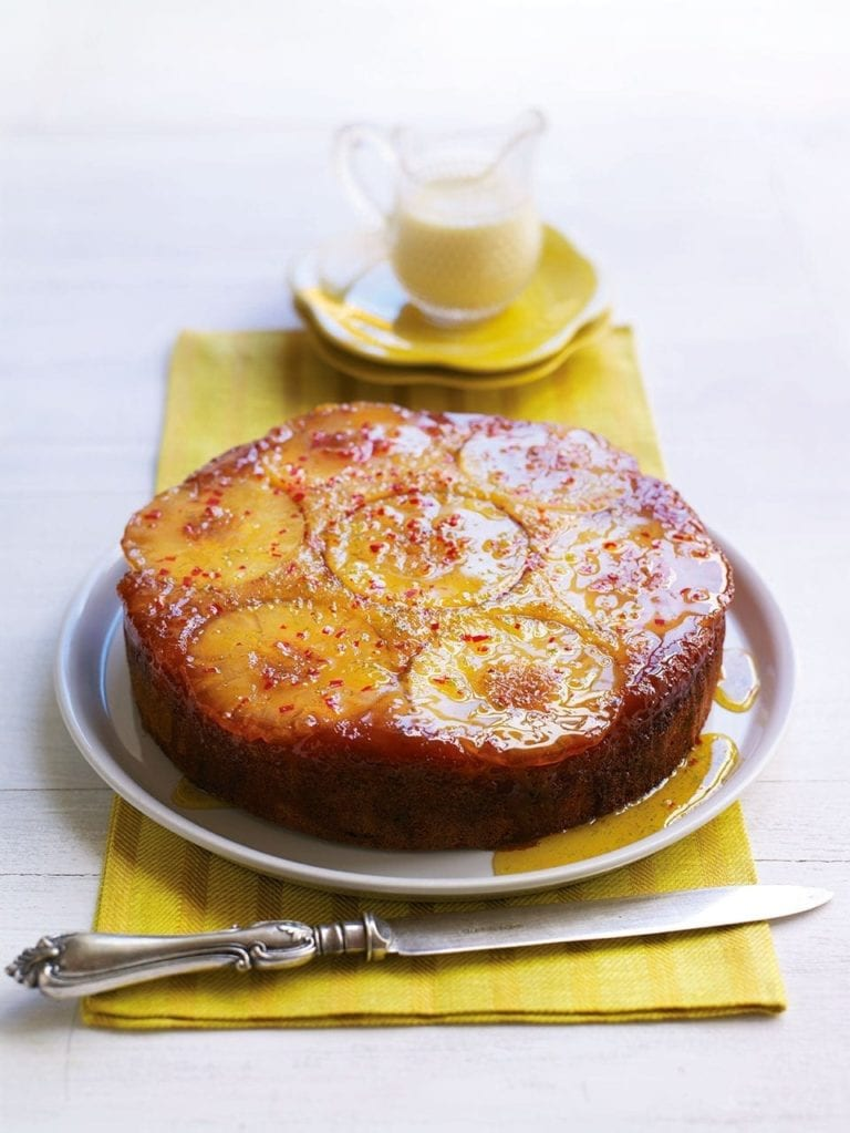 Pineapple and chilli upside-down cake