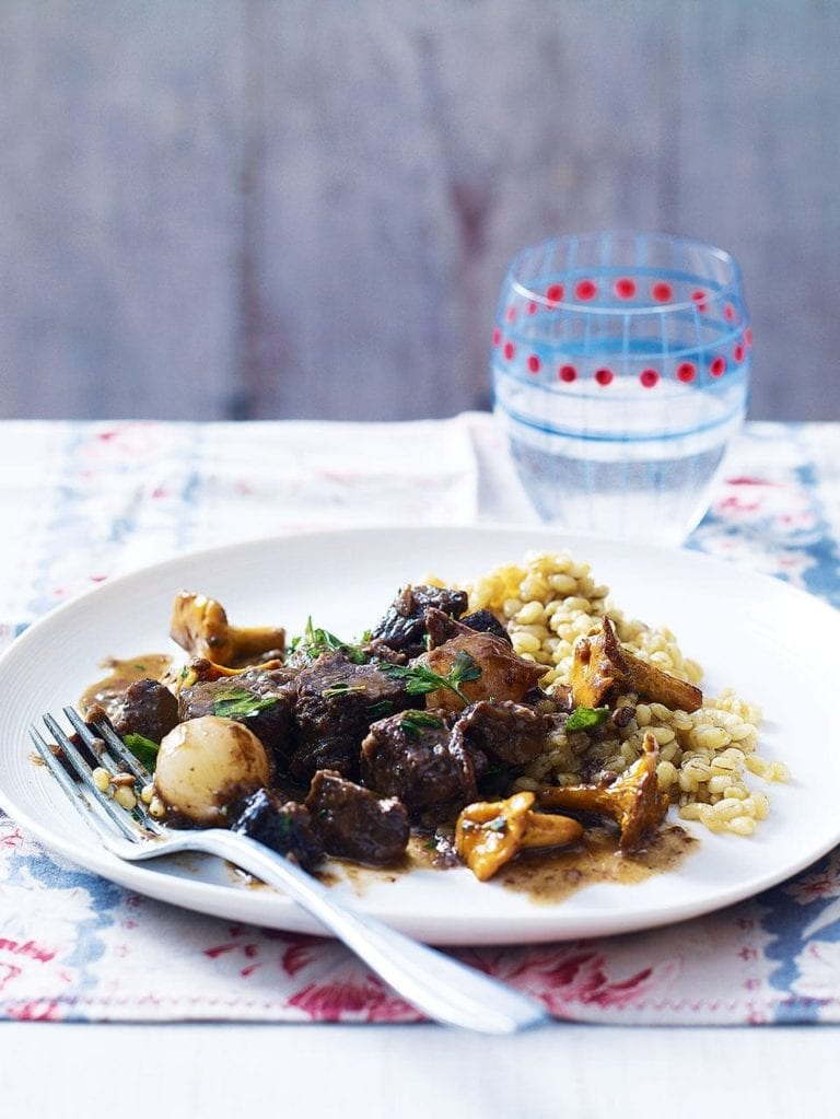 Venison and mushroom stew with pearl barley risotto