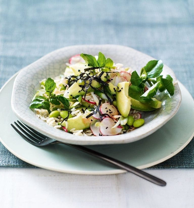 Superfood rice salad in wasabi dressing
