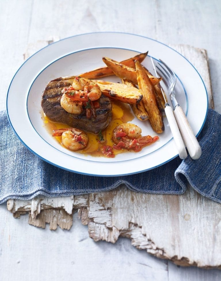 Piri-piri steak, prawns and sweet potato chips