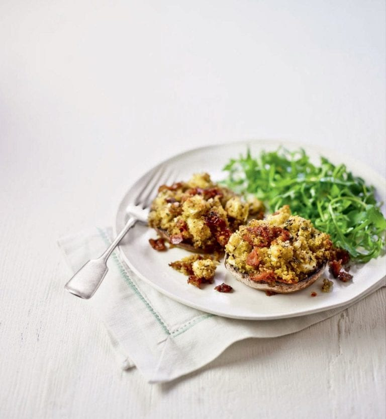 Pancetta, couscous and feta-stuffed portobello mushrooms